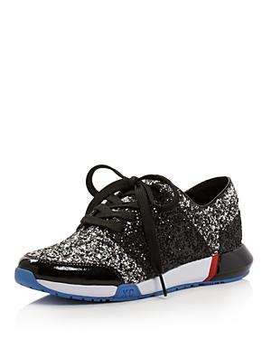 New Kenneth Cole Women's Sumner Glitter Lace Up Sneakers, Black Multi