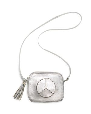 Capelli Girls' Perforated Peace Sign Metallic Crossbody Bag