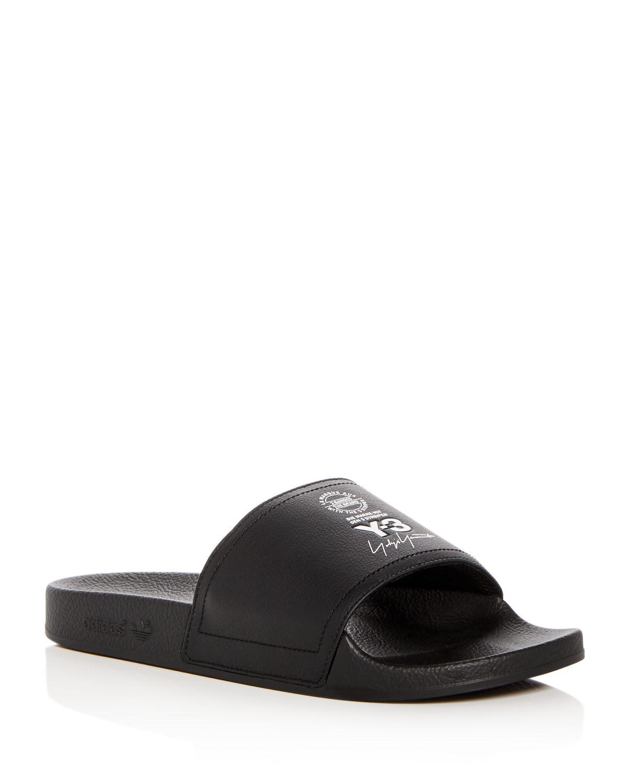 Marc Jacobs Black Leather Adilette Slides