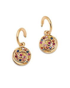 SheBee - 14K Yellow Gold Multicolor Sapphire Spiral Charm Drop Earrings