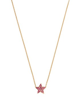 """SheBee - 14K Yellow Gold Pink Sapphire Star Pendant Necklace, 16"""""""