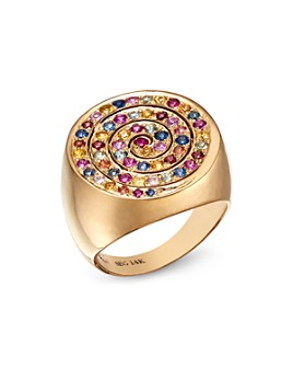 SheBee - 14K Yellow Gold Multicolor Sapphire Spiral Cocktail Ring