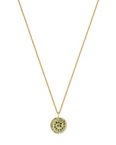 "SheBee - 14K Yellow Gold Tsavorite & Green Sapphire Spiral Pendant Necklace, 16"""