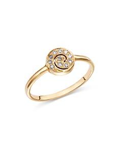 SheBee - 14K Yellow Gold Diamond Mini Spiral Ring