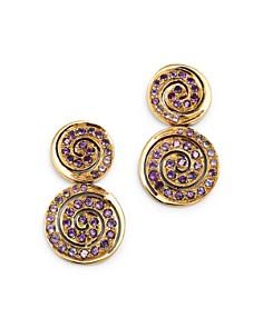 SheBee - 14K Yellow Gold Amethyst Spiral Drop Earrings