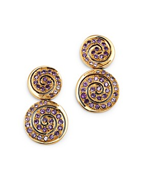 SheBee - 14K Yellow Gold Amethyst Spiral Drop Earrings