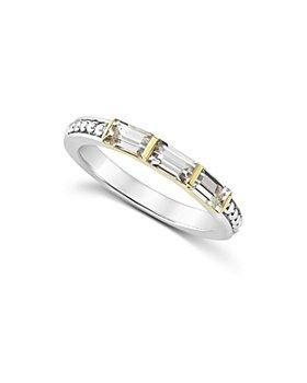 LAGOS - 18K Gold & Sterling Silver Triple Gemstone Baguette Stacking Ring