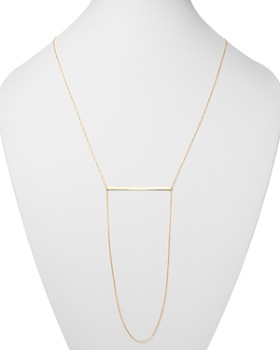 "Moon & Meadow - Bar & Draped Chain Necklace in 14K Yellow Gold, 30""L - 100% Exclusive"