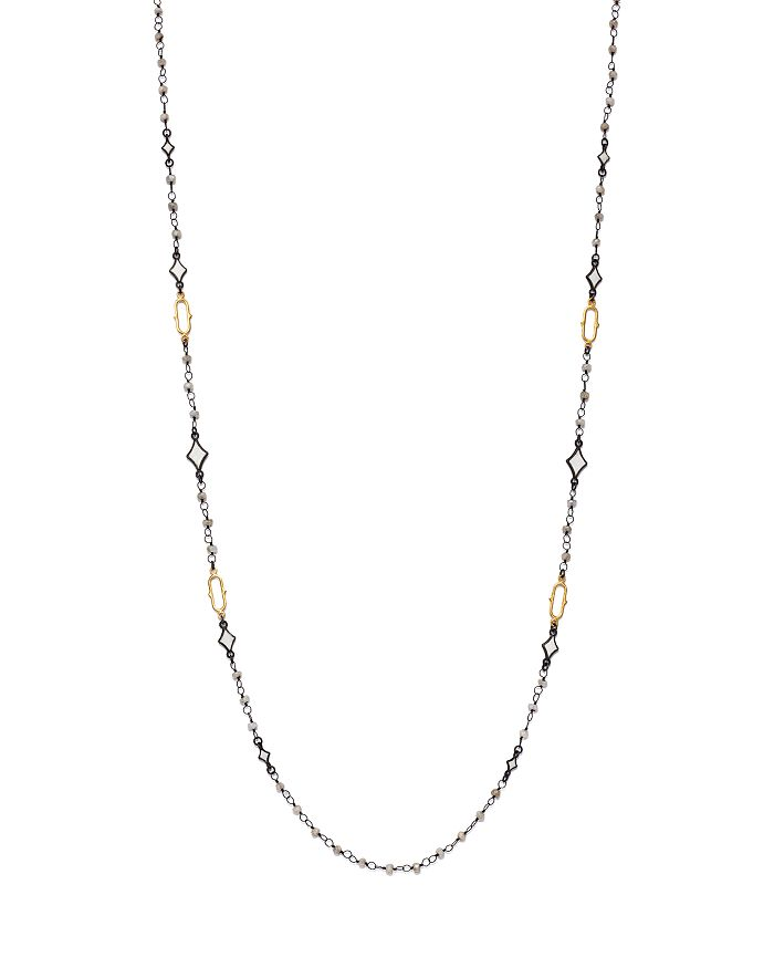 """Armenta - 18K Yellow Gold & Blackened Sterling Silver Old World Crivelli Moonstone Beaded Necklace, 36"""""""