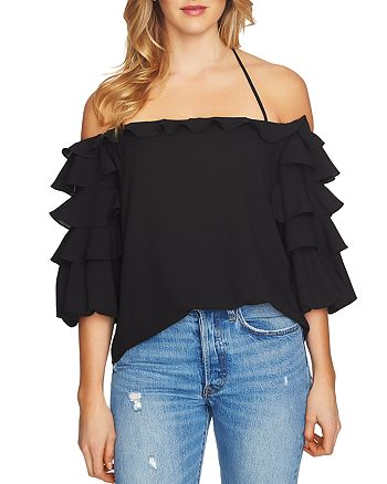 1.STATE - Tiered Ruffle Sleeve Top