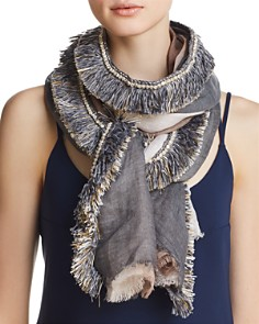 Gaynor - Color-Block Fringed Oblong Scarf - 100% Exclusive