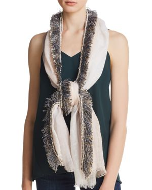 GAYNOR COLOR-BLOCK FRINGED OBLONG SCARF - 100% EXCLUSIVE