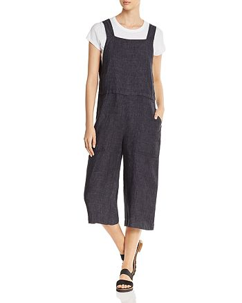 Eileen Fisher Petites - Wide-Leg Cropped Linen Overalls