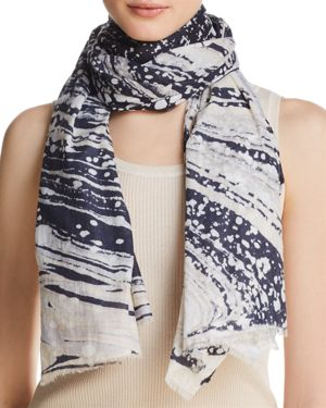 LOLA ROSE Marble Heart Print Scarf in Gray/Navy