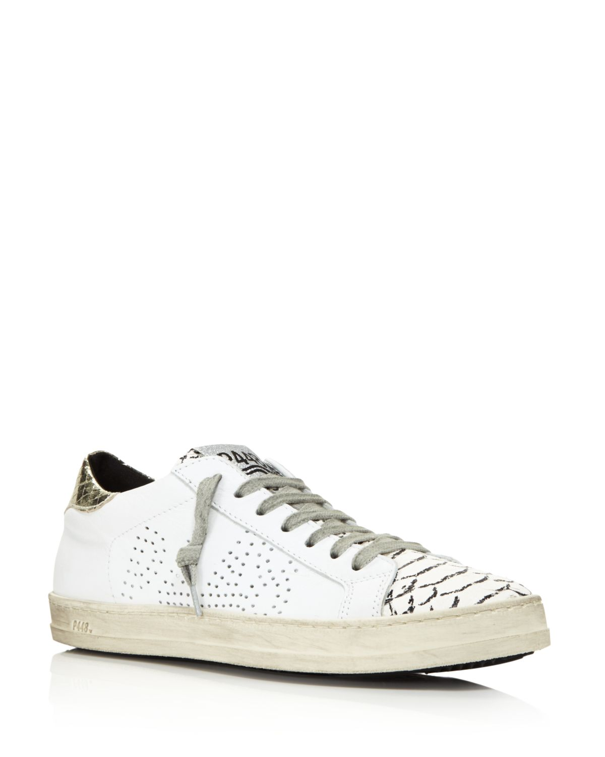 P448 Women's John Perforated Leather & Snake Print Lace Up Sneakers