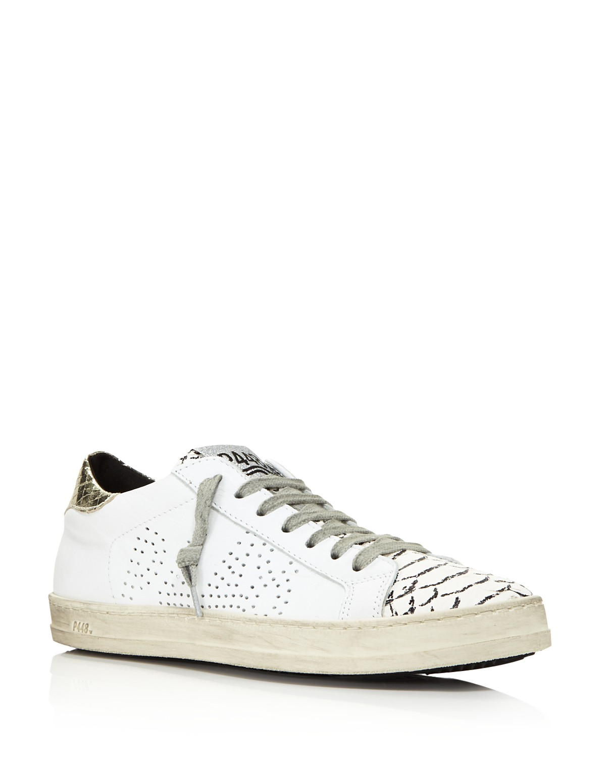 P448 Women's John Perforated Leather & Snake Print Lace Up Sneakers Free Shipping Looking For Great Deals Sale Online YAB0xVuMEC