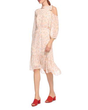 Whistles Lip-Print Cold-Shoulder Dress