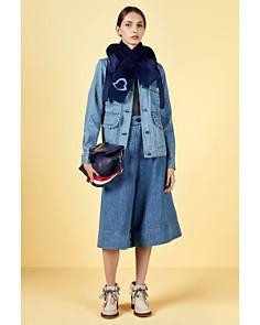 Moncler Resinite Denim Jacket & Mink Fur Scarf - Bloomingdale's_0
