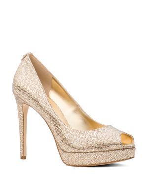Women'S Erika Glitter Platform Peep Toe Pumps, Silver/Sand