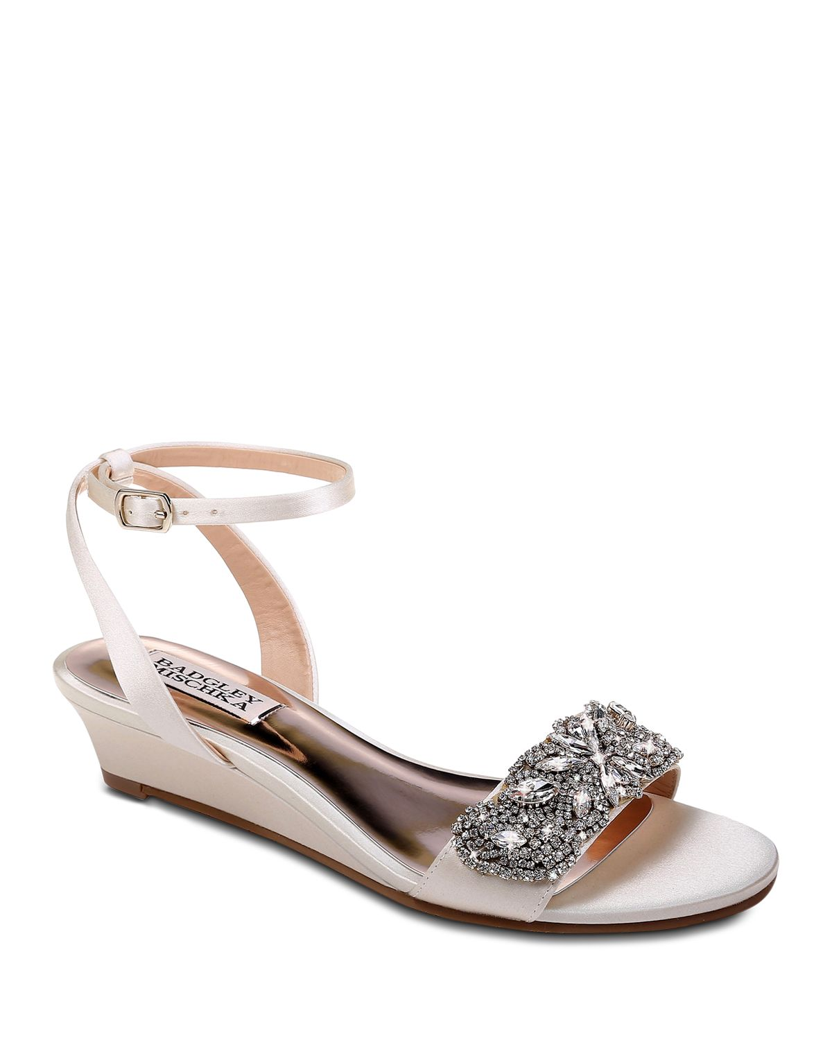 Hatch Satin Jeweled Ankle Strap Wedge Sandals