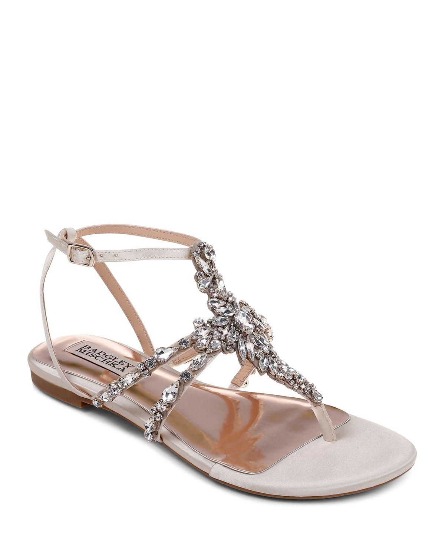 Badgley Mischka Women's Hampden Embellished Satin Thong Sandals