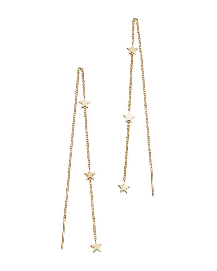 14k Yellow Gold Itty Bitty Stars Threader Earrings