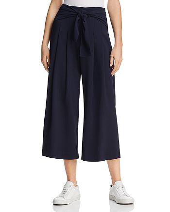 AQUA - Tie-Waist Wide-Leg Cropped Pants - 100% Exclusive
