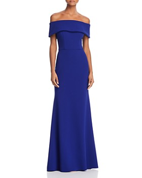 AQUA - Off-the-Shoulder Scuba Crepe Gown - 100% Exclusive
