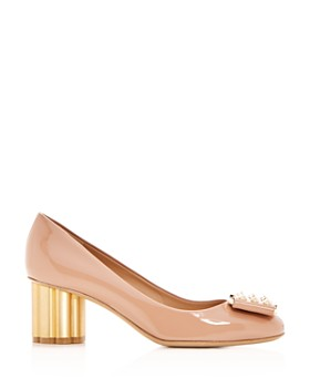 Salvatore Ferragamo - Women's Capua 55 Patent Leather Flower Heel Pumps