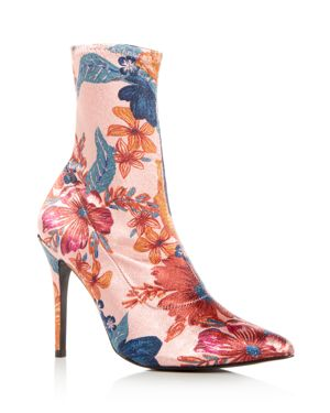 WOMEN'S COMPACT FLORAL PRINT STRETCH SATIN SOCK BOOTIES