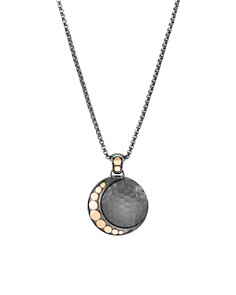 "John Hardy Blackened Sterling Silver & 18K Bonded Gold Dot Hammered Moon Pendant Necklace, 16"" - Bloomingdale's_0"