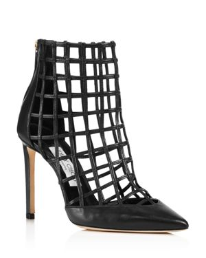 JIMMY CHOO Women'S Sheldon 100 Caged Leather High-Heel Booties, Black