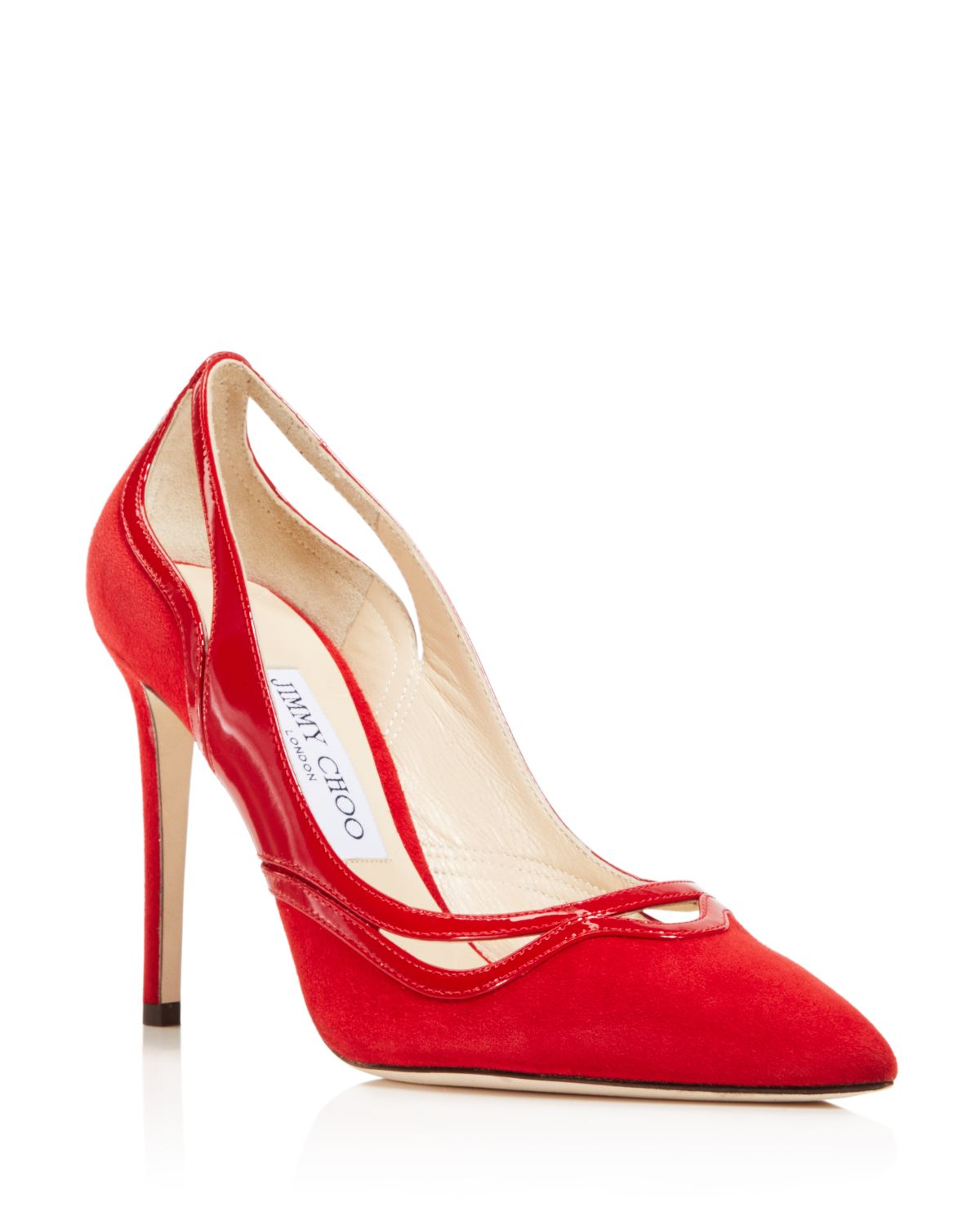 Jimmy choo Women's Hickory 100 Suede & Patent Leather Cutout High-Heel Pumps