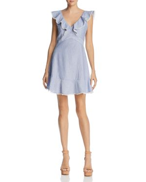 LUCY PARIS HILLARY RUFFLED STRIPED DRESS