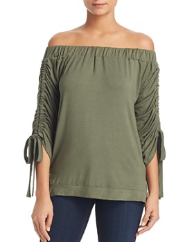 Alison Andrews - Off-the-Shoulder Cinched-Sleeve Top