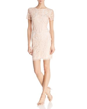 MOLLY BRACKEN Embellished V-Back Dress in Pale Pink