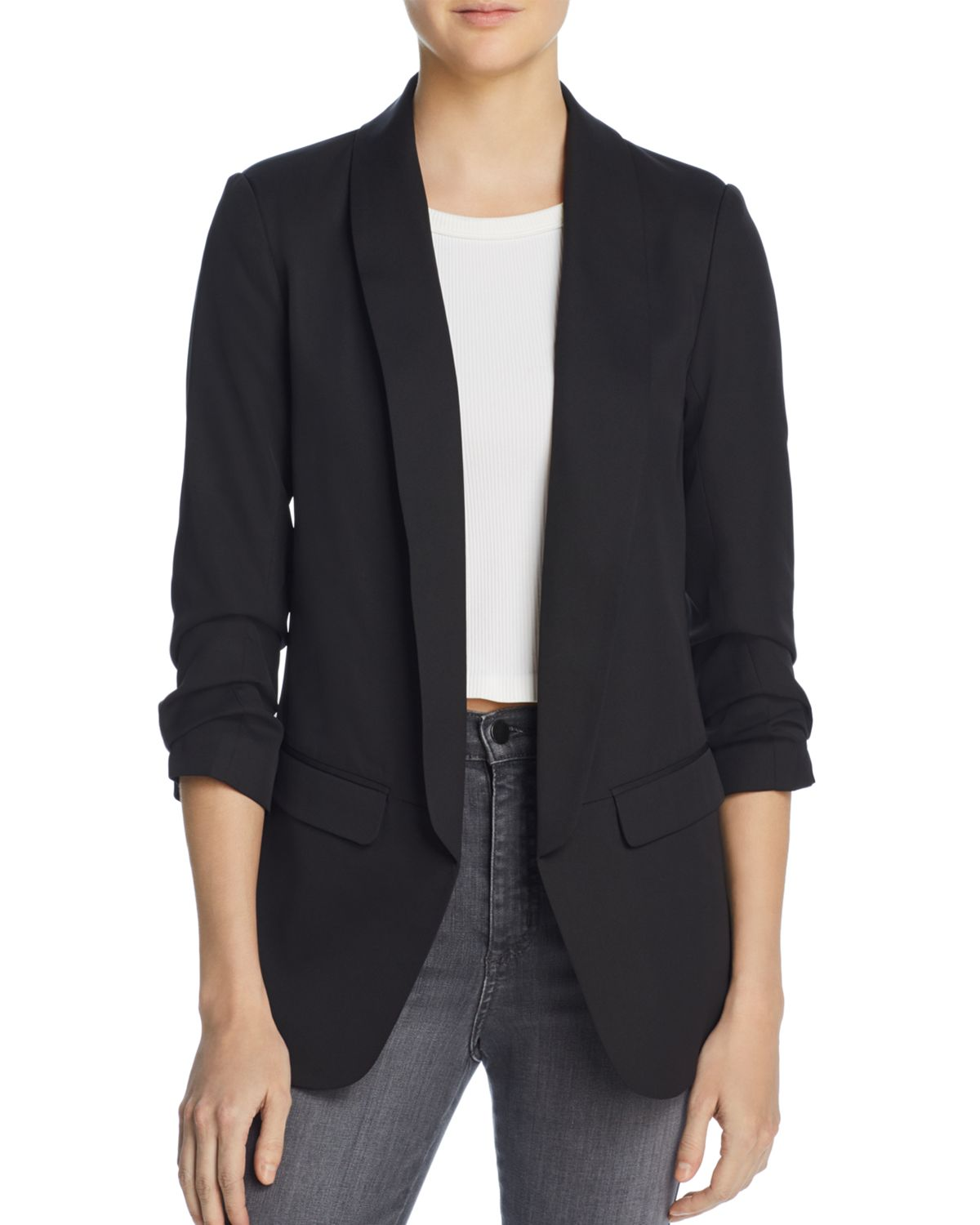 Ruched Sleeve Blazer   100 Percents Exclusive by Aqua