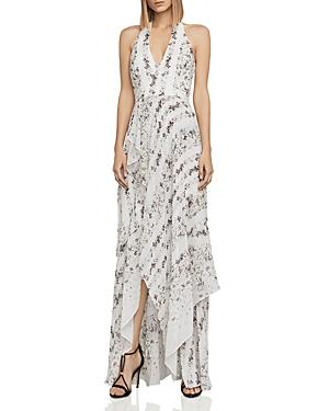 Bcbgmaxazria Randi Floral Silk Chiffon Halter Gown