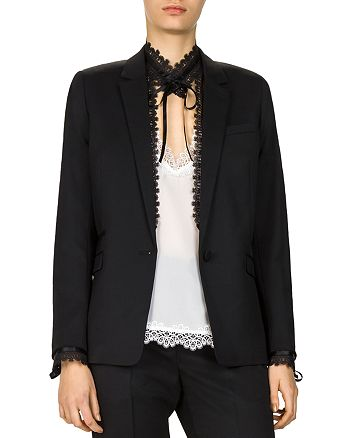 ae34fe0bbe The Kooples Removable-Lace-Detail Stretch Blazer | Bloomingdale's
