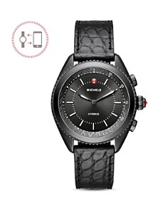 MICHELE - Black Alligator & Silicone Strap Hybrid Smartwatch, 38mm