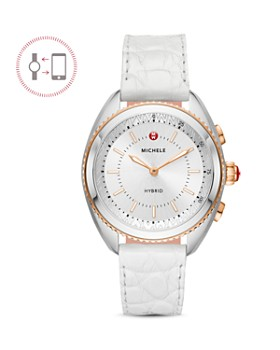 MICHELE - White Alligator & Silicone Strap Hybrid Smartwatch, 38mm