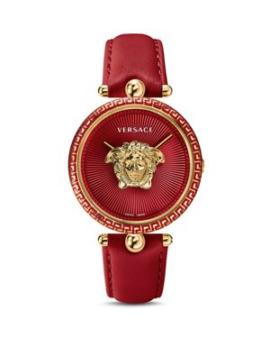 Palazzo Empire Leather Strap Watch, 39Mm in Red/ Gold
