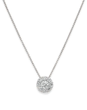 Bloomingdale's - Diamond Halo Pendant Necklace in 14K White Gold, 0.50 ct. t.w. - 1005 Exclusive