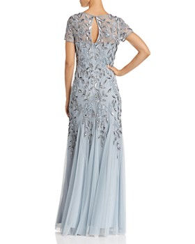 Adrianna Papell - Short-Sleeve Beaded Gown