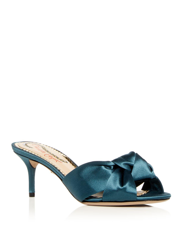 Charlotte Olympia Women's Lola Satin Kitten Heel Slide Sandals