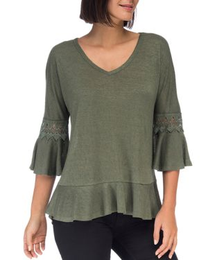 B COLLECTION BY BOBEAU Kenya Bell-Sleeve Knit Top in Green