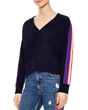 Sandro Artic Striped-Sleeve Sweater