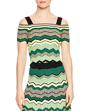 Sandro Stevie Geo-Stripe Cold-Shoulder Sweater