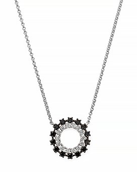 """Bloomingdale's - Black & White Diamond Circle Pendant Necklace in 14K White Gold, 16"""" - 100% Exclusive"""