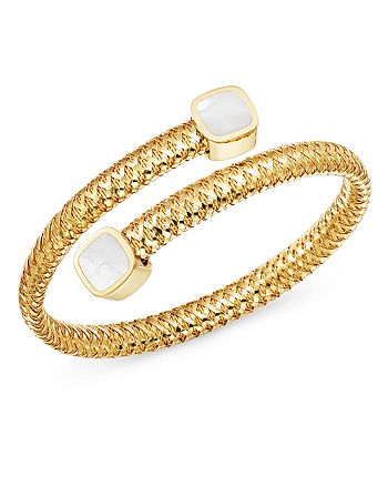 Roberto Coin - 18K Yellow Gold Primavera Mother-of-Pearl Square Capped Bypass Bangle